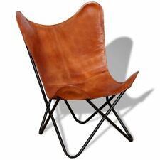 vidaXL Butterfly Chair Real Leather Brown