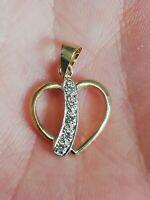 Pendentif Coeur en or jaune 14 K et zirconium