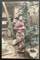 1922 Saigon Vietnam Cochina RPPC Postcard cover To Belgium Japanese Girl