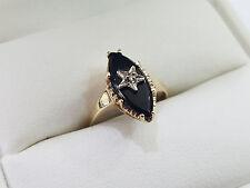 10K White Gold Black Onyx & Diamond Set In Star Ring 1.9 Grams Sz 5 1/4  - 4491