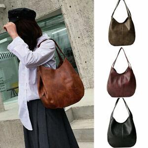 Ladies Soft Faux Leather Hobo Satchel Handbag Shoulder Tote Bag Women~