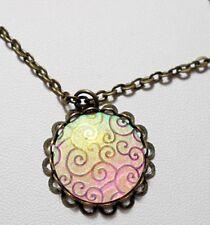 Multi-colour holographic pendant - 16'' chain, bronze colour