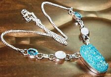 "LOVELY TITANIUM DRUZY & MULTI SILVER NECKLACE SIZE-18"" GIFT"