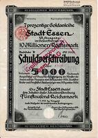Essen historische Gold Anleihe 1926 Oberbürgermeister Bracht Ruhrgebiet Bond