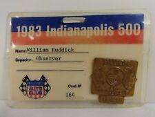 1983 Indianapolis 500 Bronze Pit Badge USAC Observer William Ruddick Backup Card
