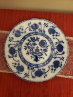 "Antique Allerton's England 9.5"" Plate Onion Pattern Flow Blue"