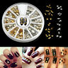 Lots 1 Wheel Gold Silver 3D Metal Nail Art Tips Fashion Metallic Studs Stickers