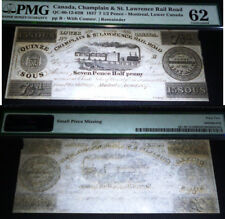 71/2 PENCE CANADA CHAMPLAIN & ST. LAWRENCE RAIL ROAD TRAIN NOTE PMG 62 UNC
