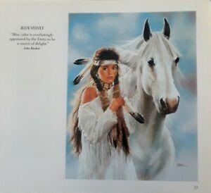 "MAIJA ART PRINT ""BLUE VELVET""Native American Lady, Horse -SOUTHWEST ART,  8x7"