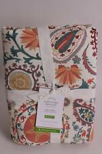 NWT Pottery Barn Adya Print Suzani Organic Cotton King duvet & 1 euro sham, red