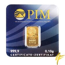Goldbarren 999,9 Feingold 0,1 Gramm Gold 0,10 g LBMA PIM Nadir Münze Geschenk