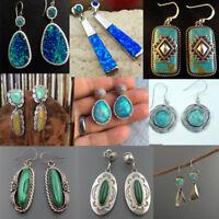 Woman 925 Silver Turquoise Hoop Dangle Earrings Wedding Birthday Fashion Gift