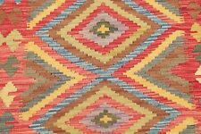 Pastel Color Square Turkish Kilim Area Rug Hand-Woven South-west Geometric 3'x3'