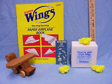 Vintage Handmade Wood Airplane Paper Plane Instruction Book Soap Stickers