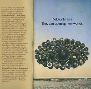 Nikon Nikkor lenses customer brochure 38 pages 1970