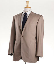 NWT $4495 OXXFORD HIGHEST QUALITY Solid Tan Twill Wool Suit 40 R Handmade