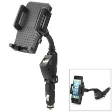 2 USB Car Cigarette Lighter Mount Holder Charger for Mobile Phone GPS Mp3