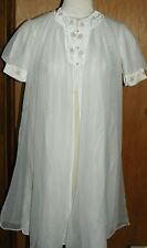 Vtg Godfried White Chiffon Layered Negligee Lingerie w/ Juliet Sleeves Size S/M