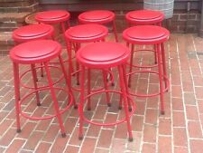 "8 Ki Co. Red 24"" Industrial Metal Stacking Stools With Padded Seats Very Good"