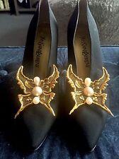 39 Authentic Vintage Rare Ysl Yves Saint Laurent Black Satin Pearl Jeweled Heels