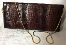 5809daeb7b310 PACO`S Valencia Clutsch Echt Kroko Hornback Handtasche Braun 60er Jahre  Vintage