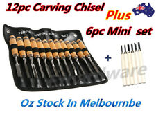 18PC WOOD CARVING CHISEL SET WOOD CUTTING CHISEL 12PC + 6PC MINI CARVING CHISEL
