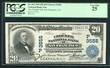 1902 $20 THE CROCKER NATIONAL BANK OF SAN FRANCISCO, CA CH. #3555 PCGS VF-25
