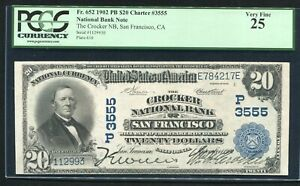 1902 $20 THE CROCKER NATIONAL BANK OF SAN FRANCISCO, CA CH. #3555 PCGS VF-25