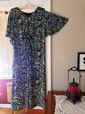 JONES NEW YORK Woman Dress Empire Waist Bat Short Sleeve Black Green Blue 20W