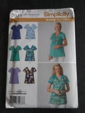 Simplicity 3645 Uncut Size HS 6-14 Misses Regular & Maternity Scrub Top Pattern