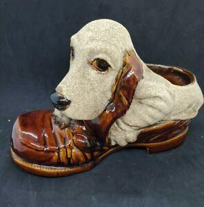 Vintage Royal Haeger Mid Century Pottery Dog In Shoe Hound Dog Planter