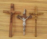 Antiguo lote de 3 crucifijo objet religioso francesa antiguo religiosa