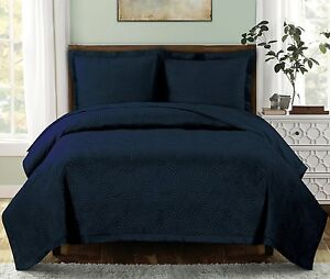 3PC Set Emerson OVER-SIZED Quilt Luxury Wrinkle Free Microfiber Coverlet