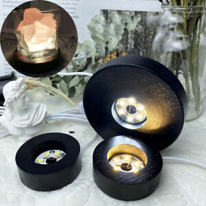 LED Lights Display Base Stand Round Wood Lamp Holder Resin Art Epoxy Ornaments