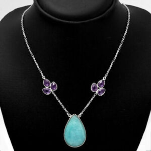 Natural Paraiba Amazonite and Amethyst 925 Sterling Silver Necklace Jewelry 6795