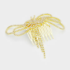 BIG Gold Pave Crystal Bow Hair Comb Cocktail / Bridal Prom By Rocks Boutique