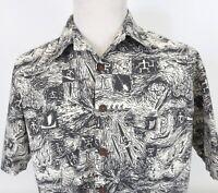 Kahala Large Wild Hawaiian Shirt Outrigger Paddle Surf Button Up SS Cotton USA