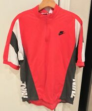 VINTAGE Nike Gray Tag Cycling Shirt Red Mens Size Large