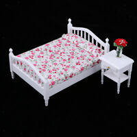 3pcs 1:12 Dollhouse Miniature Bedroom Furniture Floral Bed with Cabinet Set