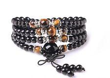 Long 108 6mm Black Agate Tiger eye Buddhist Prayer Mala beads Necklace/Bracelet