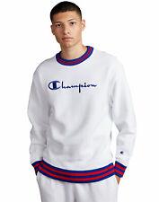 Champion Life Men's Sweatshirt Reverse Weave Yarn Dye Rib Trim Crew Vintage Logo