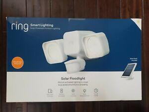 RING Smart Lighting White Motion Activated Solar Outdoor LED Flood Light - NEW
