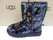 UGG WOMENS BOOTS CLASSIC SHORT SEQUIN BLACK SIZE 10