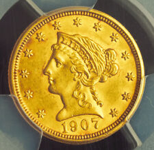 "1907, USA. Gold ""Liberty Head"" $2.5 Dollar (Quarter Eagle) Coin. PCGS MS-62!"