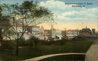 Kankakee IL East Ave & IC RR Train Depot c1910 Postcard