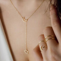 Women's Moon Star Pendant Choker Necklace Gold Silver Long Chain Jewelry D