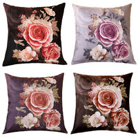 Rose Flower Pillow Case Cotton linen Cushion Cover Decorative Square Throw Sofa~