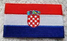 CROATIA FLAG PATCH Embroidered Badge Iron or Sew on 3.8cm x 6cm Hrvatska Europe
