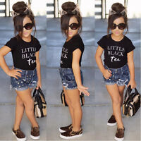 Toddler Kids Baby Girl Shirt Top + Ripped Demin Shorts Pants Clothes Set Outfit