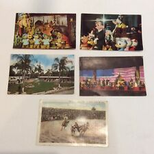 Lot of 4 Vintage Disney Post Cards Mickey Mouse Revue Hall of Pres BONUS Rodeo